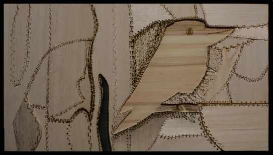 Crazy patchwork Kookaburra 32 x 50 cm balsa collage with pyrography