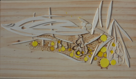 32 x 50cm balsa, sandpaper & pyrography on wood