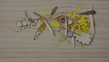 balsa, sandpaper & pyrography on wood